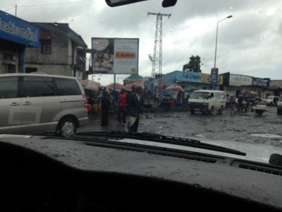 Goma potholes in the rain